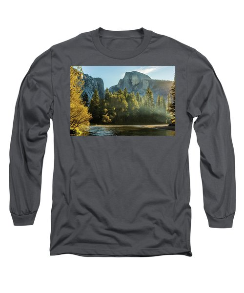 Half Dome And Merced River Autumn Sunrise Long Sleeve T-Shirt