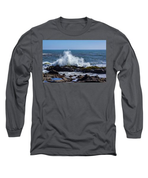Wave Crashing On California Coast 1 Long Sleeve T-Shirt