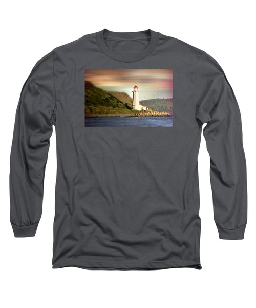 Halifax Harbor Lighthouse Long Sleeve T-Shirt by Diana Angstadt
