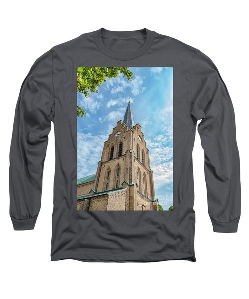 Long Sleeve T-Shirt featuring the photograph Halmstad Church In Sweden by Antony McAulay