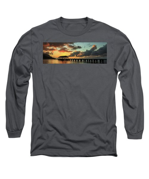 Hanalei Pier Sunset Panorama Long Sleeve T-Shirt
