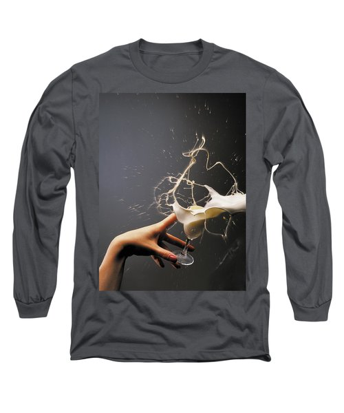 Hand With The Flying Glass Of Liqueur Long Sleeve T-Shirt by Evgeniy Lankin