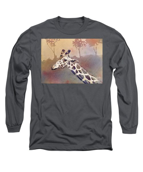 Long Sleeve T-Shirt featuring the painting Hanging Out- Giraffe by Ryan Fox