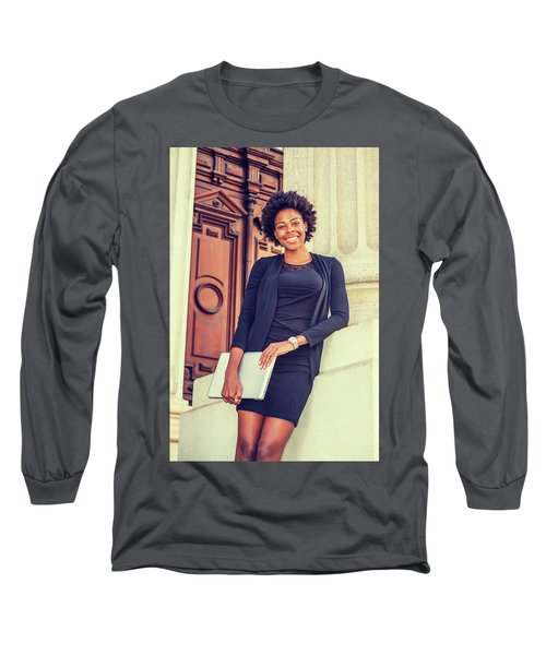 Happy African American College Student Long Sleeve T-Shirt