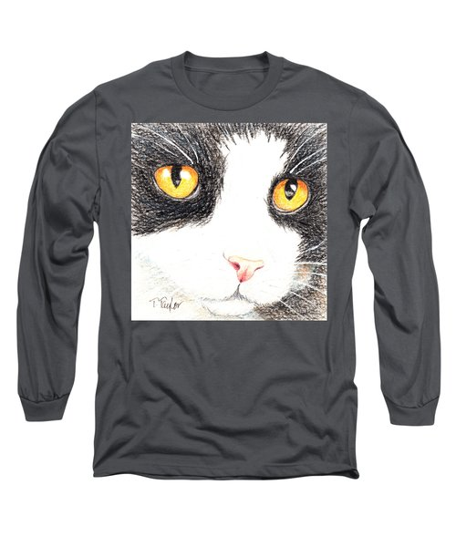 Long Sleeve T-Shirt featuring the drawing Happy Cat With The Golden Eyes by Terry Taylor
