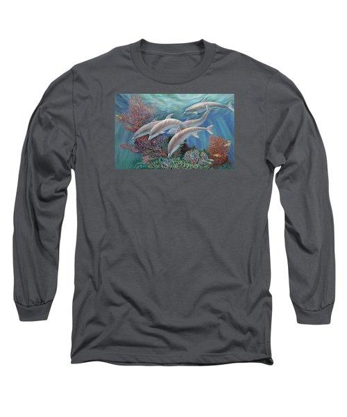 Happy Family - Dolphins Are Awesome Long Sleeve T-Shirt by Svitozar Nenyuk