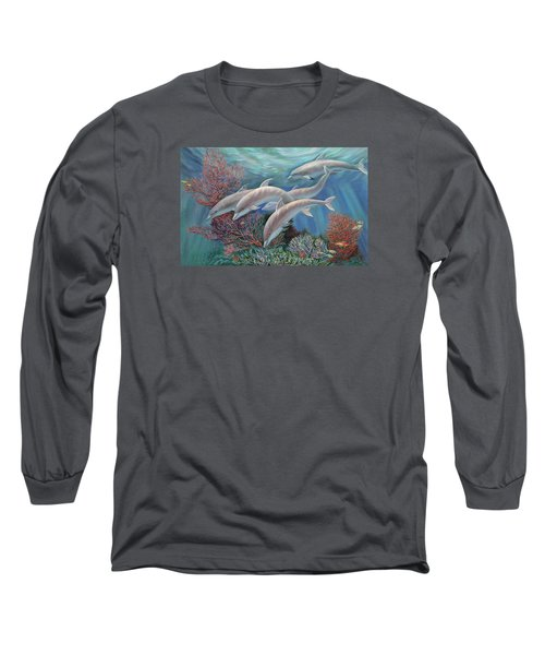 Happy Family - Dolphins Are Awesome Long Sleeve T-Shirt