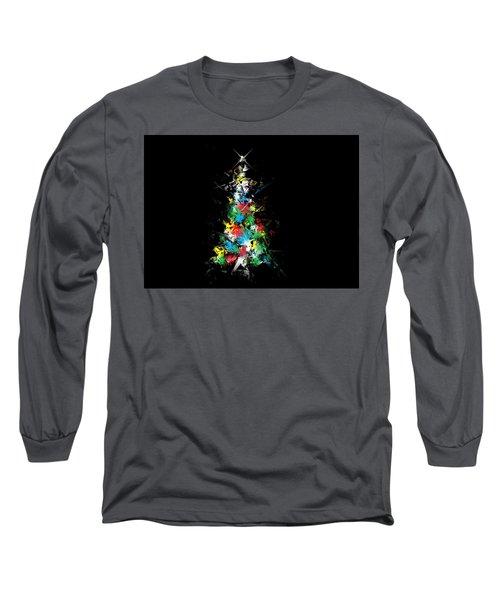Happy Holidays - Abstract Tree - Horizontal Long Sleeve T-Shirt