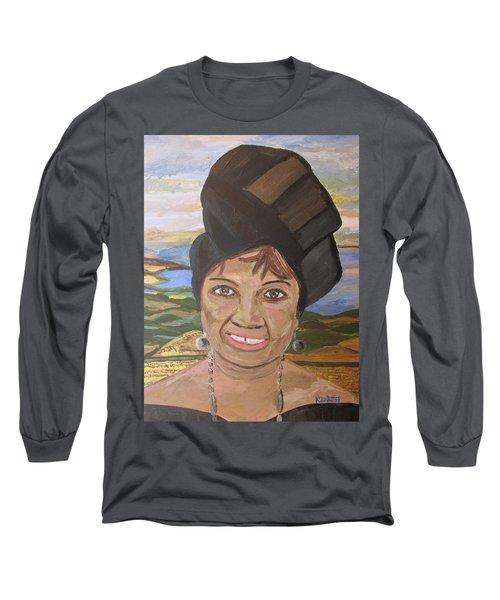 Long Sleeve T-Shirt featuring the painting Happy Ramadan - Auntie Johnson by Mudiama Kammoh