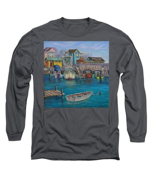 Harbor Boats Coastal Painting Of Southport North Carolina Long Sleeve T-Shirt