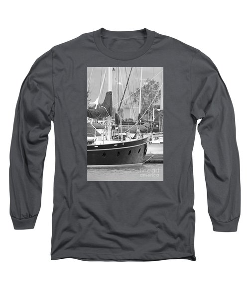 Harbor In Black And White Long Sleeve T-Shirt
