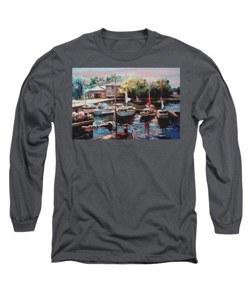 Harbor Sailboats At Rest Long Sleeve T-Shirt