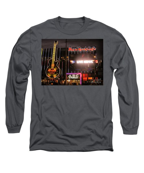 Hard Rock Cafe Las Vegas Strip At Night Long Sleeve T-Shirt by RicardMN Photography
