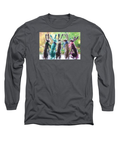 Hares With Scarves Long Sleeve T-Shirt by Debra Baldwin