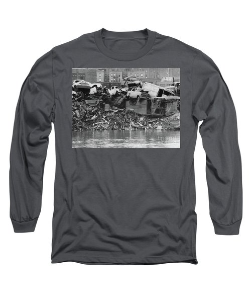Long Sleeve T-Shirt featuring the photograph Harlem River Junkyard, 1967 by Cole Thompson