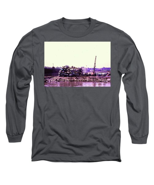 Long Sleeve T-Shirt featuring the photograph Harlem River Junkyard by Cole Thompson
