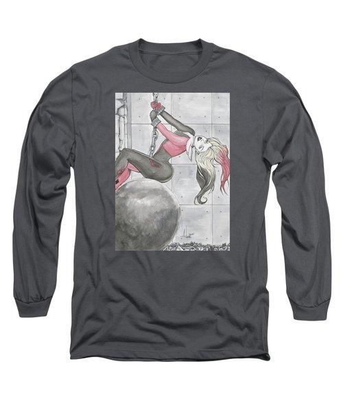 Harley Quinn Wrecking Ball Long Sleeve T-Shirt by Jimmy Adams