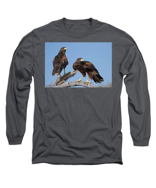 Long Sleeve T-Shirt featuring the photograph Harris Hawks by Elvira Butler