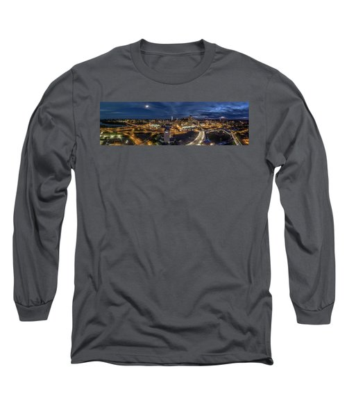 Hartford Ct Night Panorama Long Sleeve T-Shirt by Petr Hejl
