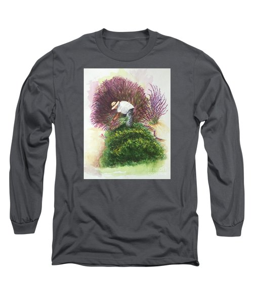 Long Sleeve T-Shirt featuring the painting Harvesting Lavender by Lucia Grilletto