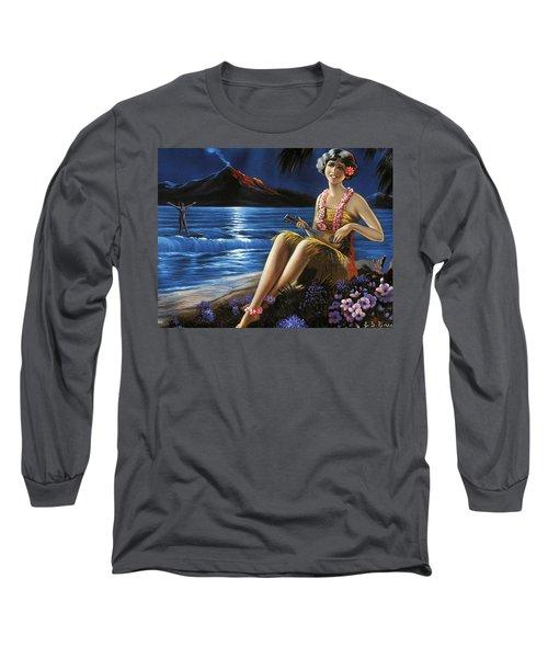 Hawaii, Hula Girl Plays Ukulele At Tropical Beach Night Long Sleeve T-Shirt