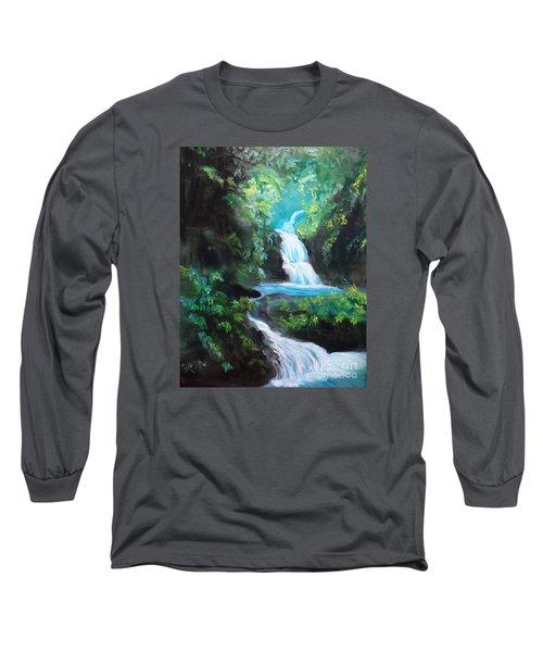 Hawaiian Waterfalls Long Sleeve T-Shirt by Jenny Lee