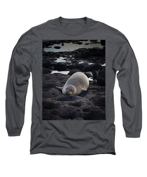 Hawaiian Monk Seal Long Sleeve T-Shirt by Roger Mullenhour