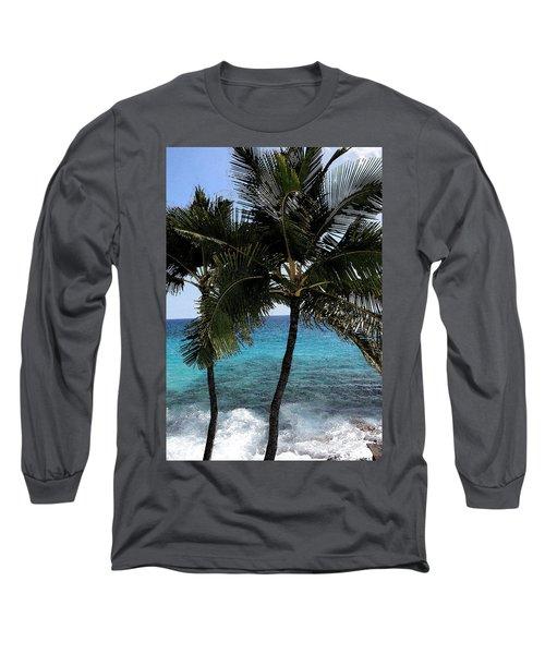Hawaiian Palm Trees - All Images Copyright Karen L. Nicholson Long Sleeve T-Shirt by Karen Nicholson