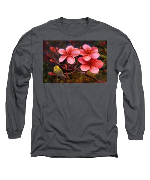 Long Sleeve T-Shirt featuring the painting Hawaiian Pink Plumeria And Amakihi Bird by Karen Whitworth
