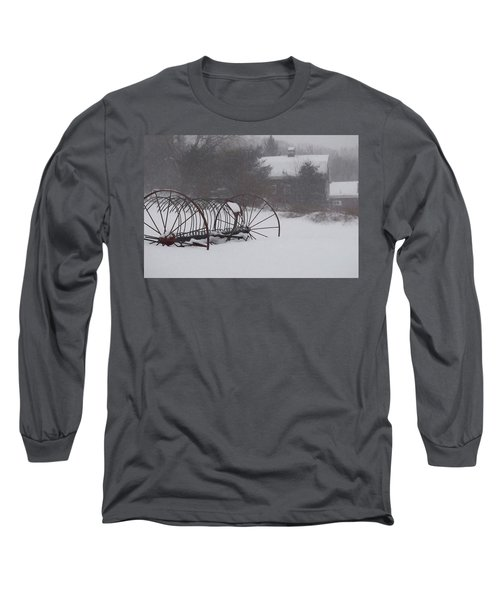Hay Rake In The Snow Long Sleeve T-Shirt