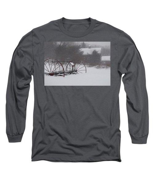 Hay Rake In The Snow Long Sleeve T-Shirt
