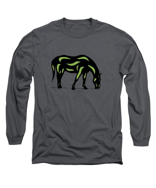 Hazel - Pop Art Horse - Black, Greenery, Purple Long Sleeve T-Shirt
