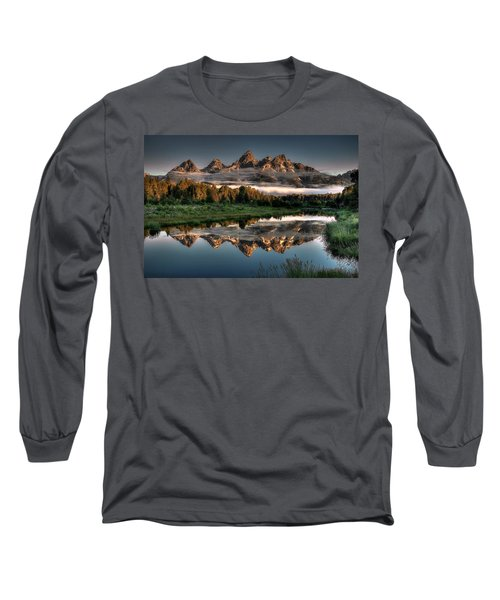 Hazy Reflections At Scwabacher Landing Long Sleeve T-Shirt by Ryan Smith