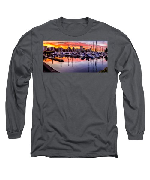 Hdr Sunset On Thea Foss Waterway Long Sleeve T-Shirt
