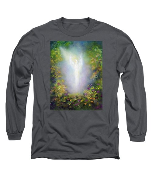 Long Sleeve T-Shirt featuring the painting Healing Angel by Marina Petro
