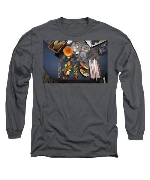 Health Fish Dish Served At A French Restaurant Long Sleeve T-Shirt by Semmick Photo