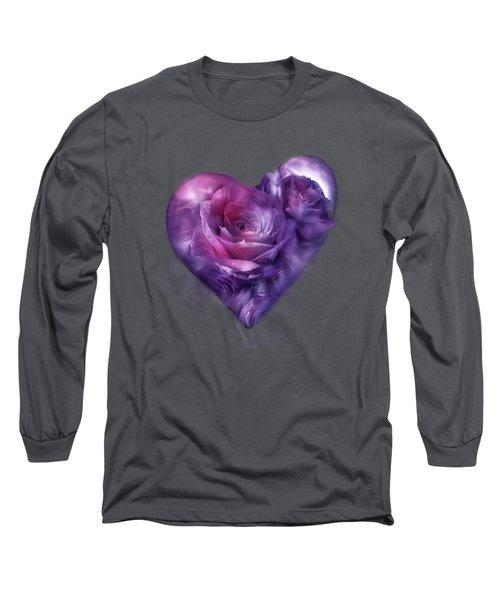 Heart Of A Rose - Burgundy Purple Long Sleeve T-Shirt