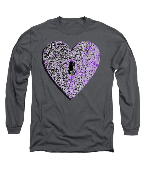 Long Sleeve T-Shirt featuring the photograph Heart Shaped Lock Purple .png by Al Powell Photography USA
