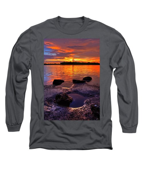 Heart Shaped Pool At Sunset Over Lake Worth Lagoon On Singer Island Florida Long Sleeve T-Shirt