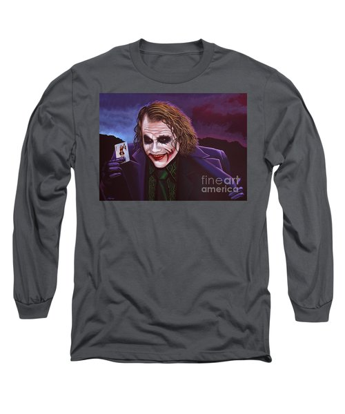 Heath Ledger As The Joker Painting Long Sleeve T-Shirt by Paul Meijering