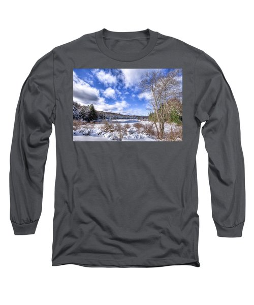 Long Sleeve T-Shirt featuring the photograph Heavy Snow At The Green Bridge by David Patterson