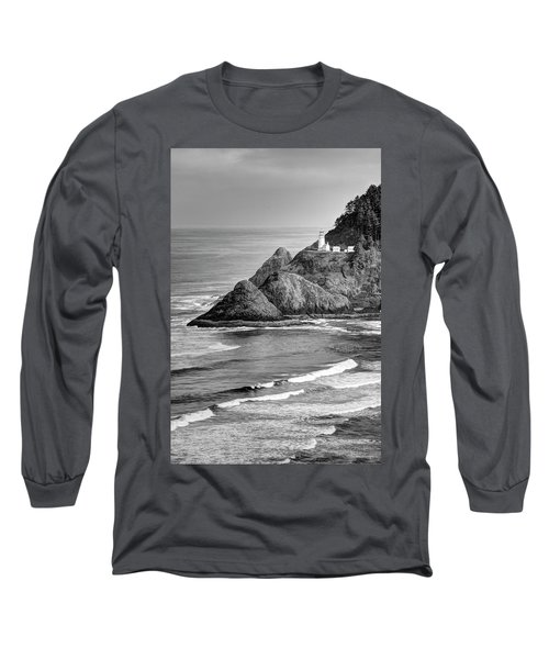 Heceta Head Light In Black And White Long Sleeve T-Shirt
