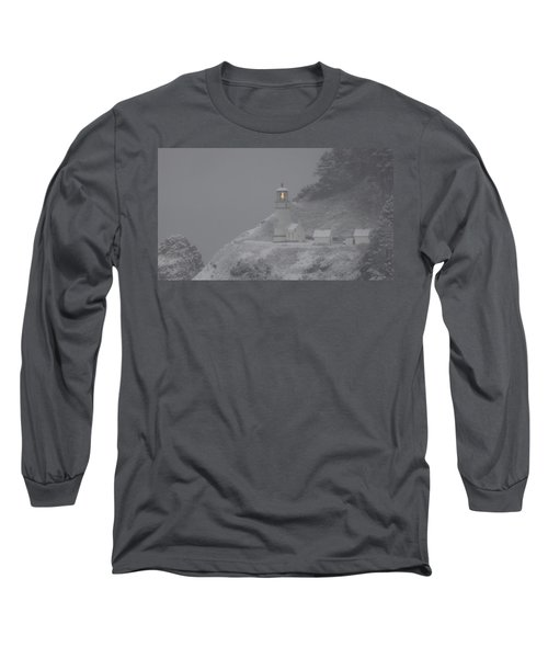 Heceta Lighthouse Snowstorm Long Sleeve T-Shirt by Kenny Henson