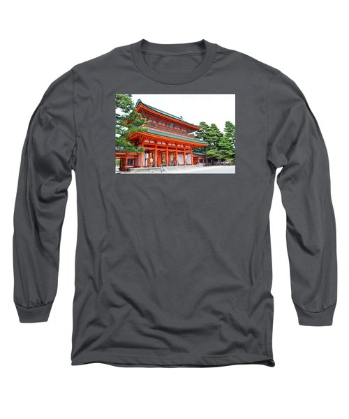 Long Sleeve T-Shirt featuring the digital art Heian Shrine And Okazaki Park  by Eva Kaufman