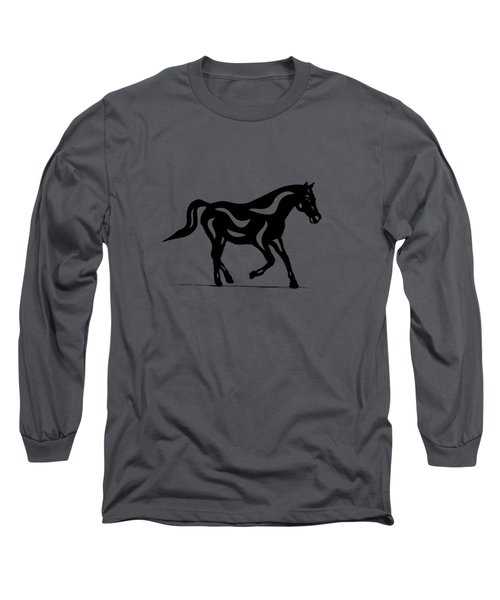 Long Sleeve T-Shirt featuring the painting Heinrich - Abstract Horse by Manuel Sueess