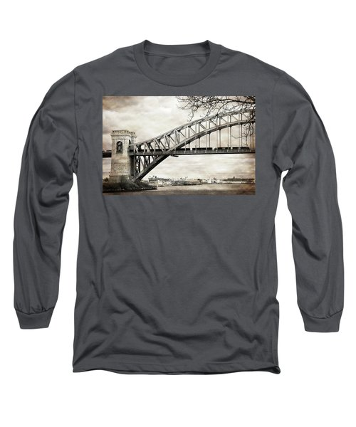 Hellgate Bridge In Sepia Long Sleeve T-Shirt