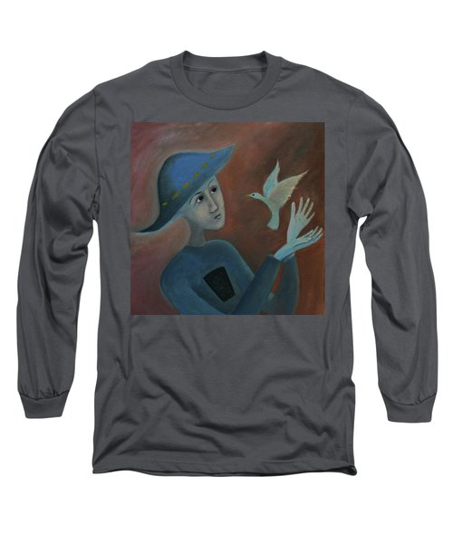 Long Sleeve T-Shirt featuring the painting Hello To You by Tone Aanderaa