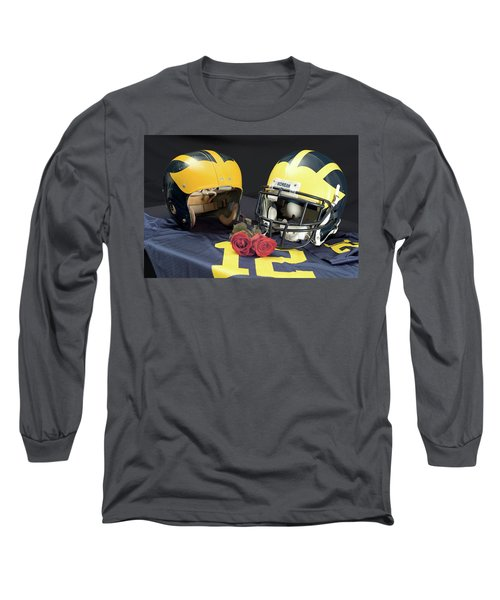 Helmets Of Different Eras With Jersey And Roses Long Sleeve T-Shirt