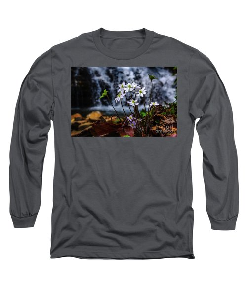 Long Sleeve T-Shirt featuring the photograph Hepatica And Waterfall by Thomas R Fletcher