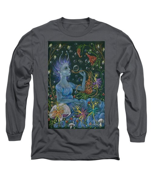 Long Sleeve T-Shirt featuring the drawing Her Caterpillar Majesty by Dawn Fairies